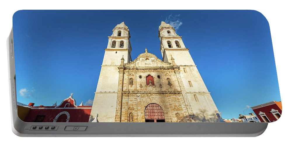 Campeche Portable Battery Charger featuring the photograph Cathedral In Campeche by Jess Kraft