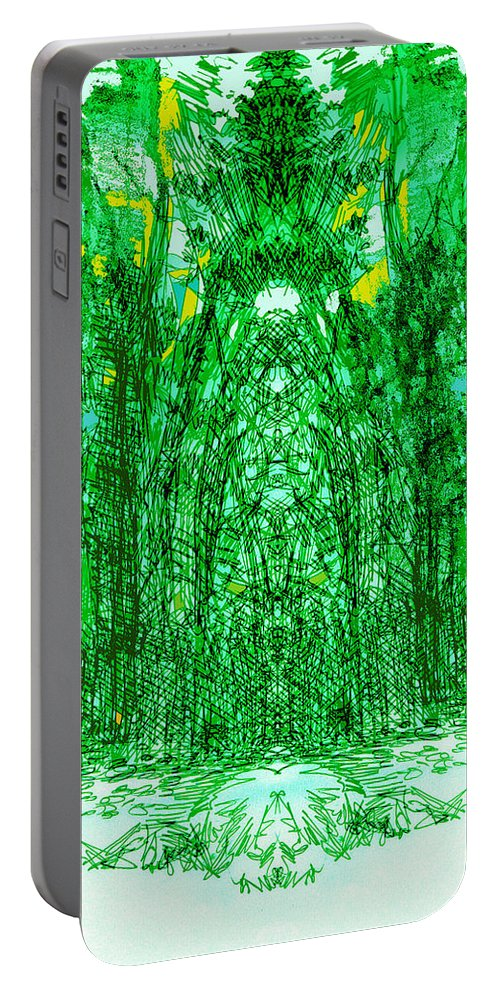 Cathedral Portable Battery Charger featuring the digital art Cathedral Of Trees by Seth Weaver