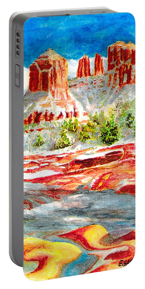 Sedona Portable Battery Charger featuring the painting Cathedral Rock Crossing by Eric Samuelson