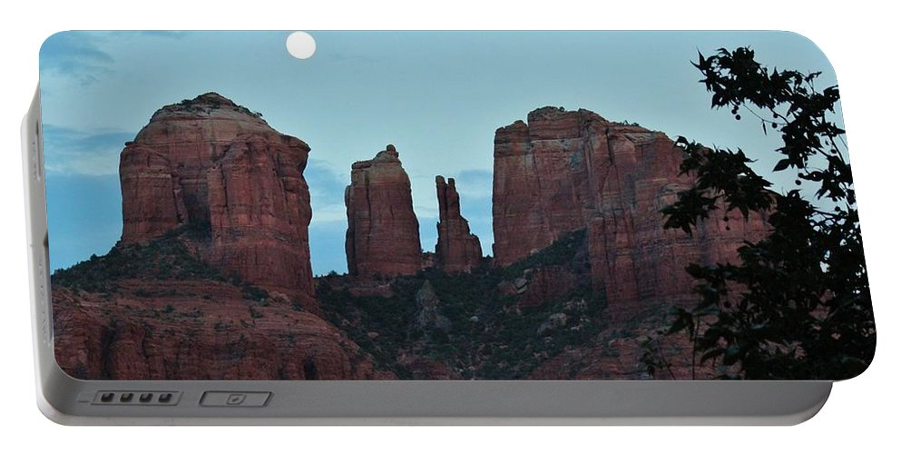 Cathedral Rock Portable Battery Charger featuring the photograph Cathedral Rock Moon 081913 G by Edward Dobosh