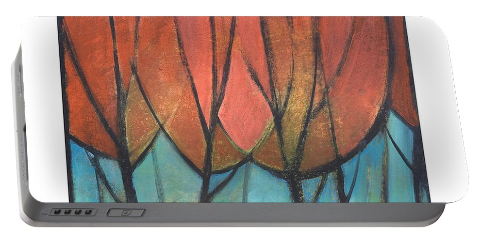 Trees Portable Battery Charger featuring the painting Cathedral by Tim Nyberg