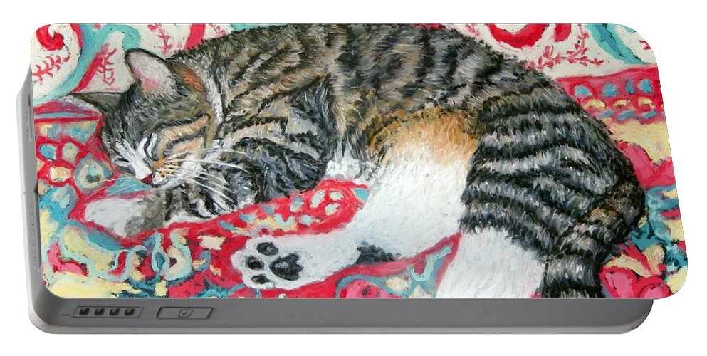 Cat Portable Battery Charger featuring the painting Catnap Time by Minaz Jantz