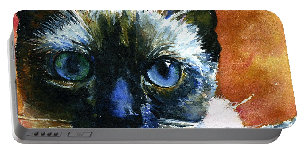 Cats Portable Battery Charger featuring the painting Cats Eyes 13 by John D Benson