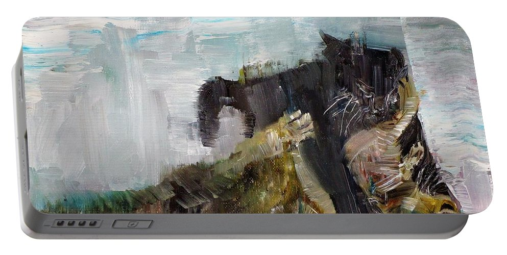 Cat Portable Battery Charger featuring the painting Cats Fighting by Fabrizio Cassetta