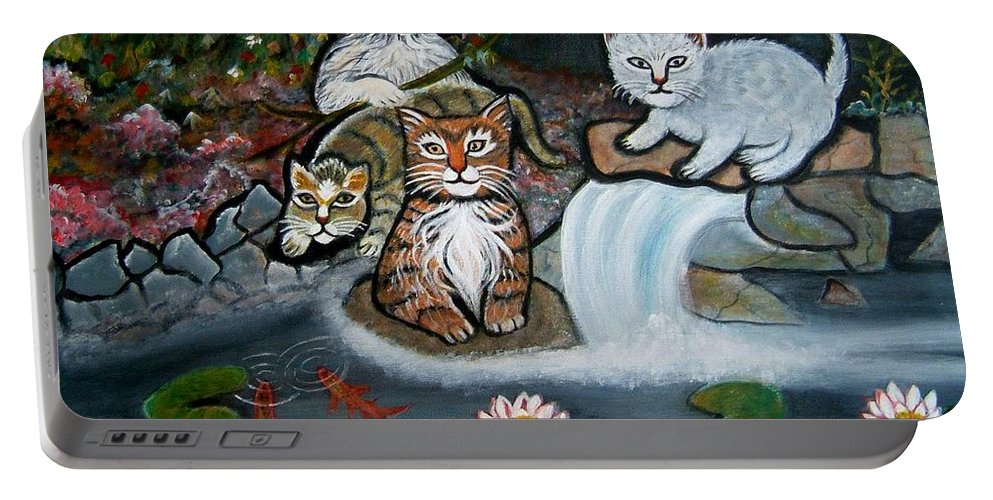 Acrylic Art Landscape Cats Animals Figurative Waterfall Fish Trees Portable Battery Charger featuring the painting Cats In The Wild by Manjiri Kanvinde