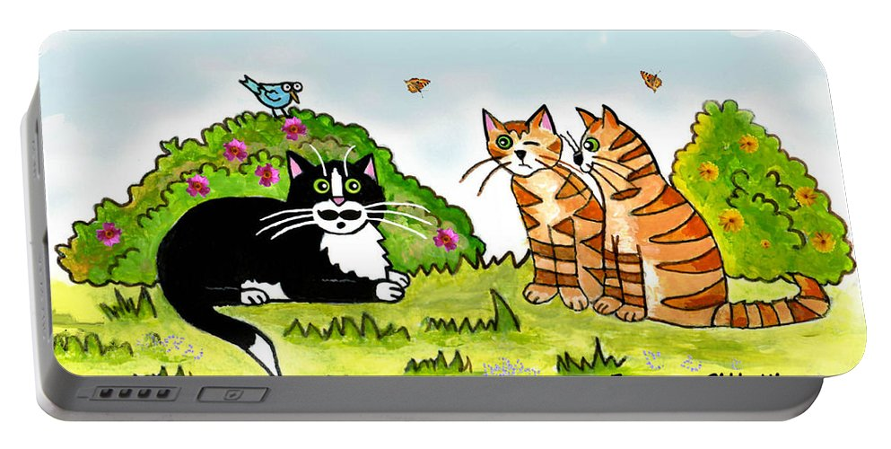 Cat Art Portable Battery Charger featuring the painting Cats Talking In A Sunny Garden by Frances Gillotti