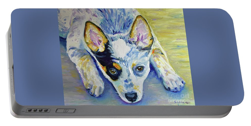 Portable Battery Charger featuring the painting Cattle Dog Puppy by Suzanne Leonard