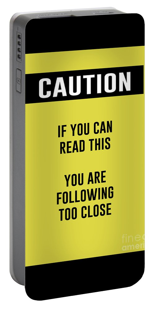 Caution Sign Portable Battery Charger featuring the digital art Caution Sign by Anne Kitzman
