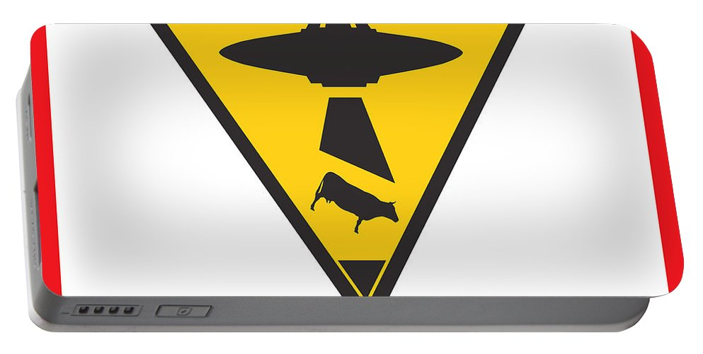Ufo Portable Battery Charger featuring the digital art Caution Ufos by Pixel Chimp