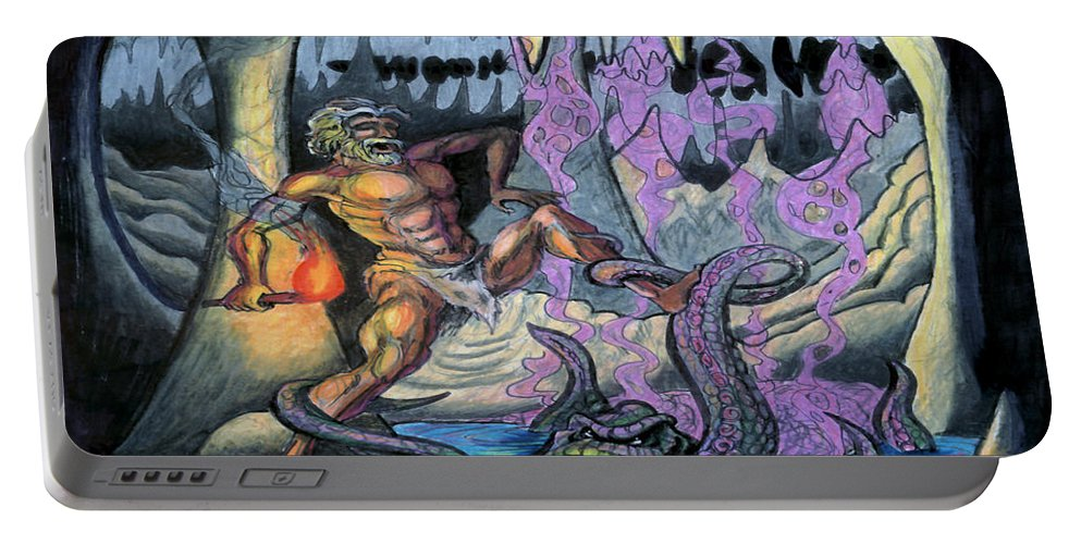 Cave Portable Battery Charger featuring the painting Cave Creature by Kevin Middleton