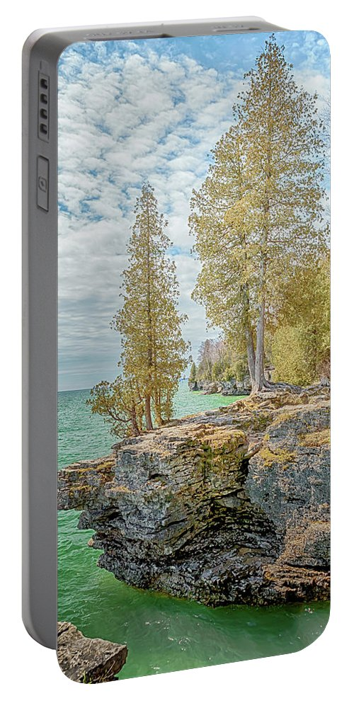 Door County Portable Battery Charger featuring the photograph Cave Point Bluffs 2 by Susan Rissi Tregoning