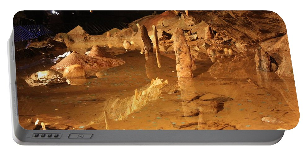 Cave Portable Battery Charger featuring the photograph Cave Reflections by Lauri Novak