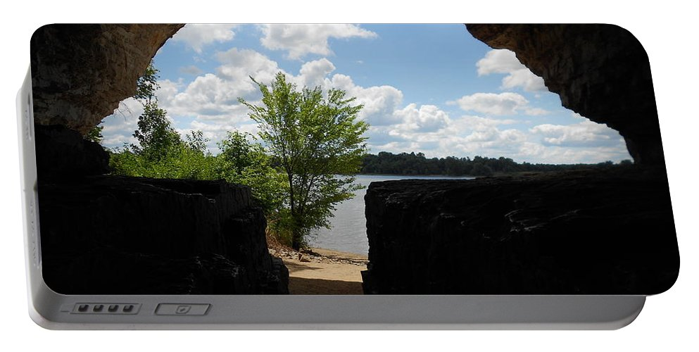 Cave Portable Battery Charger featuring the photograph Cave With A View. by Shirley Rose