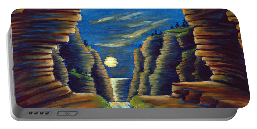 Cave Portable Battery Charger featuring the painting Cave With Cliffs by Jennifer McDuffie