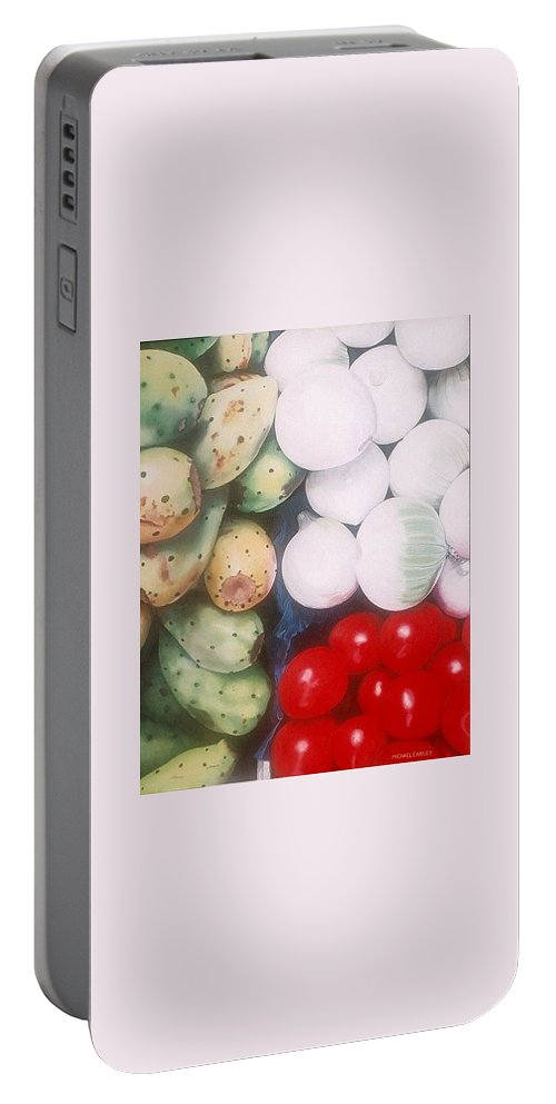 Hyperrealism Portable Battery Charger featuring the painting Cebollas Tunas Y Tomates by Michael Earney