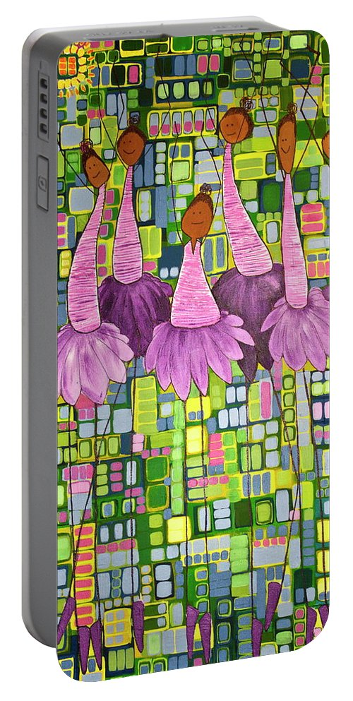 Ballet Portable Battery Charger featuring the painting Celebrate by Donna Howard