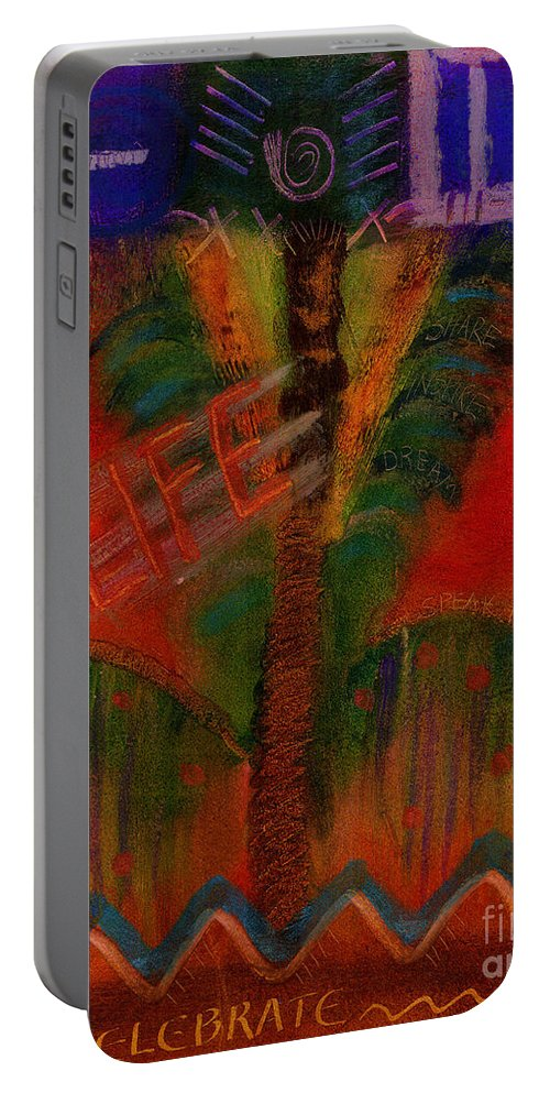 Abstract Portable Battery Charger featuring the painting Celebrate Life by Angela L Walker