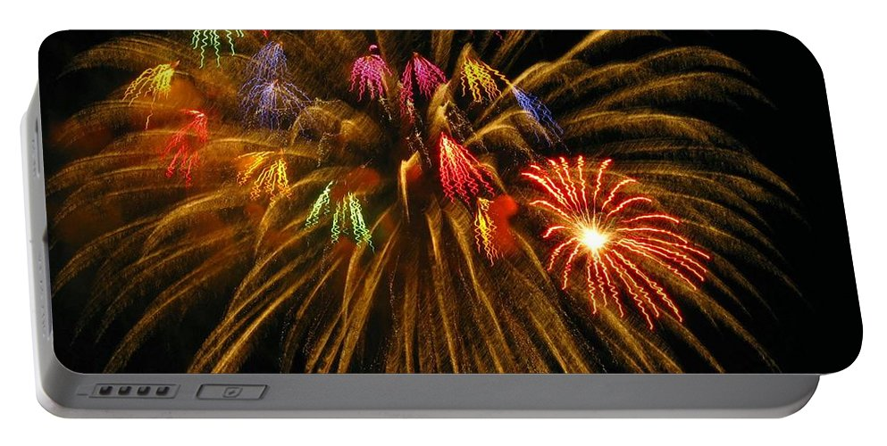 Fireworks Portable Battery Charger featuring the photograph Celebrate by Rhonda Barrett