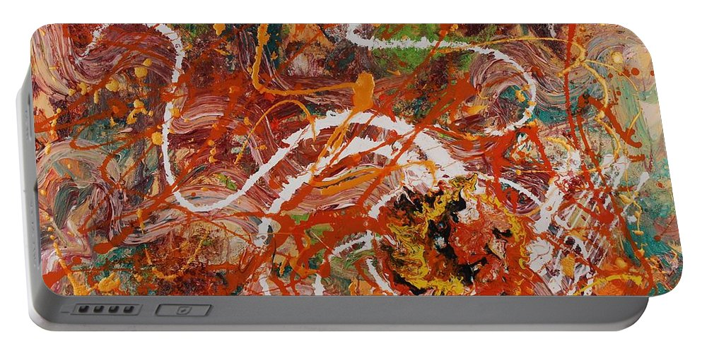 Orange Portable Battery Charger featuring the painting Celebration II by Nadine Rippelmeyer