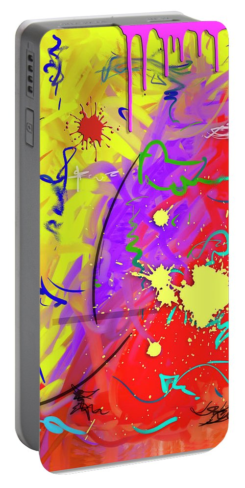 Abstract Portable Battery Charger featuring the painting Celebration by Snake Jagger