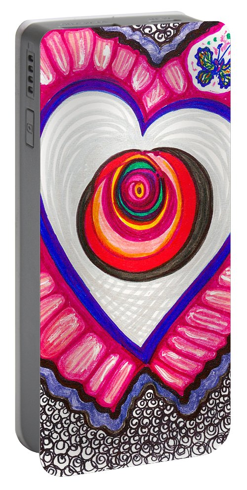 Heart Portable Battery Charger featuring the painting Celebration - Viii by Laurel Rosenberg