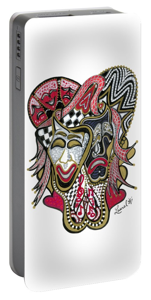 Tragedy Portable Battery Charger featuring the painting Celebration - X by Laurel Rosenberg