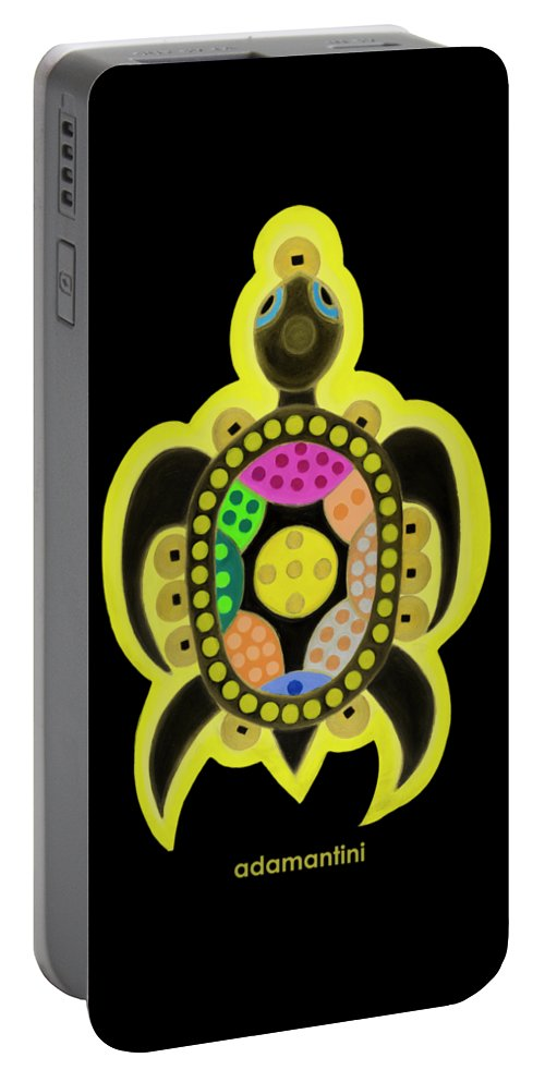 Celestial Black Turtle Portable Battery Charger featuring the painting Celestial black turtle by Adamantini Feng shui