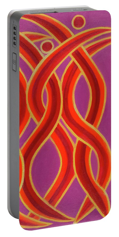 Celestial Fire Portable Battery Charger featuring the painting Celestial Fire by Adamantini Feng shui