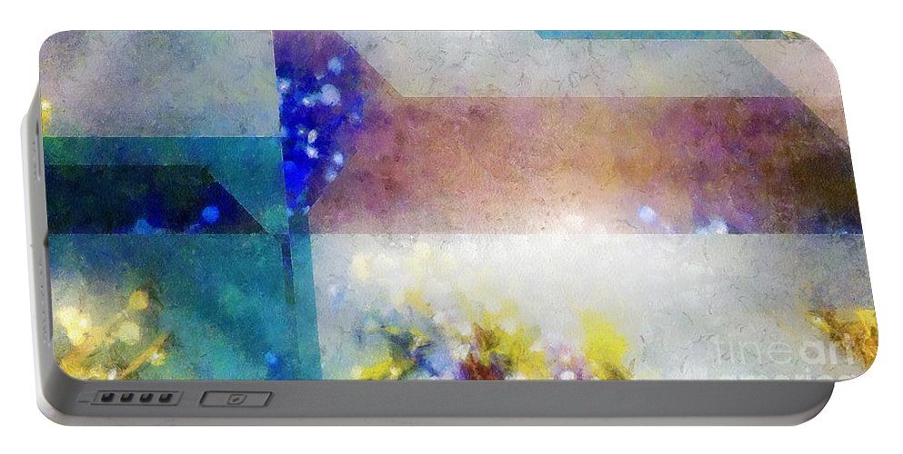 Abstract Portable Battery Charger featuring the painting Celestial Navigation by RC DeWinter
