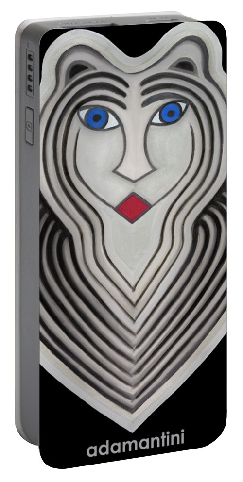 Tiger Portable Battery Charger featuring the painting Celestial Woman by Adamantini Feng shui