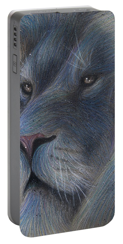 Lion Portable Battery Charger featuring the drawing Celestialion by Jonathan Anderson