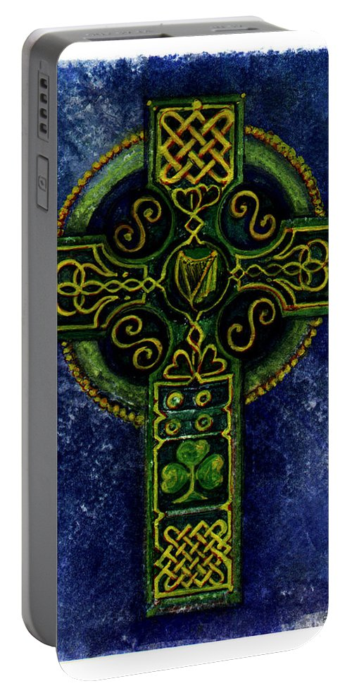 Elle Fagan Portable Battery Charger featuring the painting Celtic Cross - Harp by Elle Smith Fagan