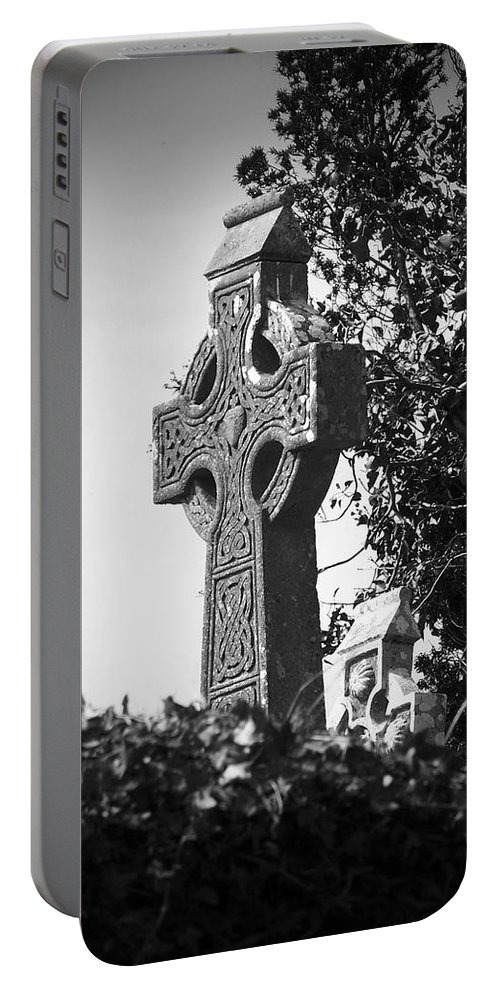 Celtic Portable Battery Charger featuring the photograph Celtic Cross At Fuerty Cemetery Roscommon Ireland by Teresa Mucha