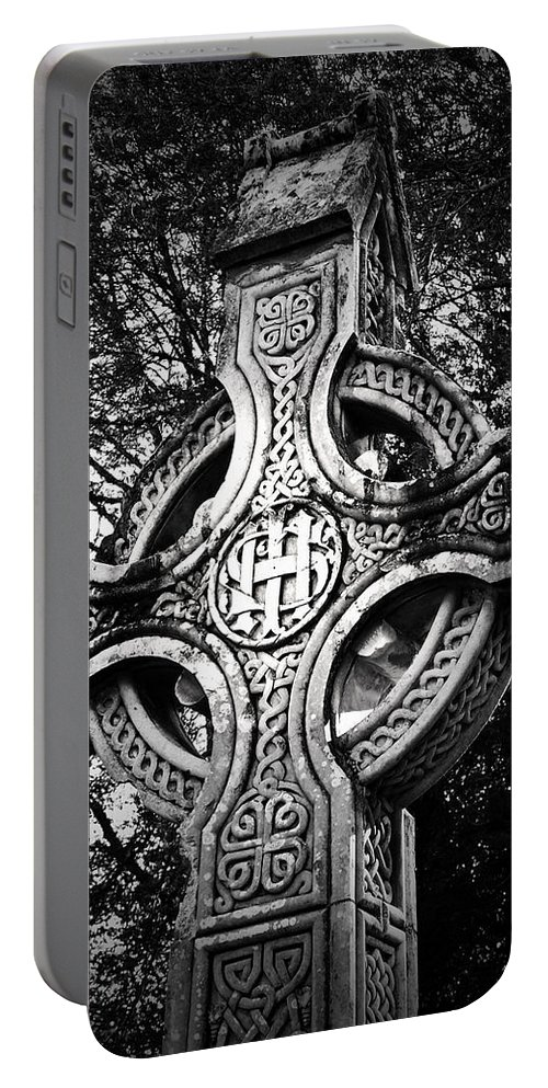 Irish Portable Battery Charger featuring the photograph Celtic Cross Detail Killarney Ireland by Teresa Mucha