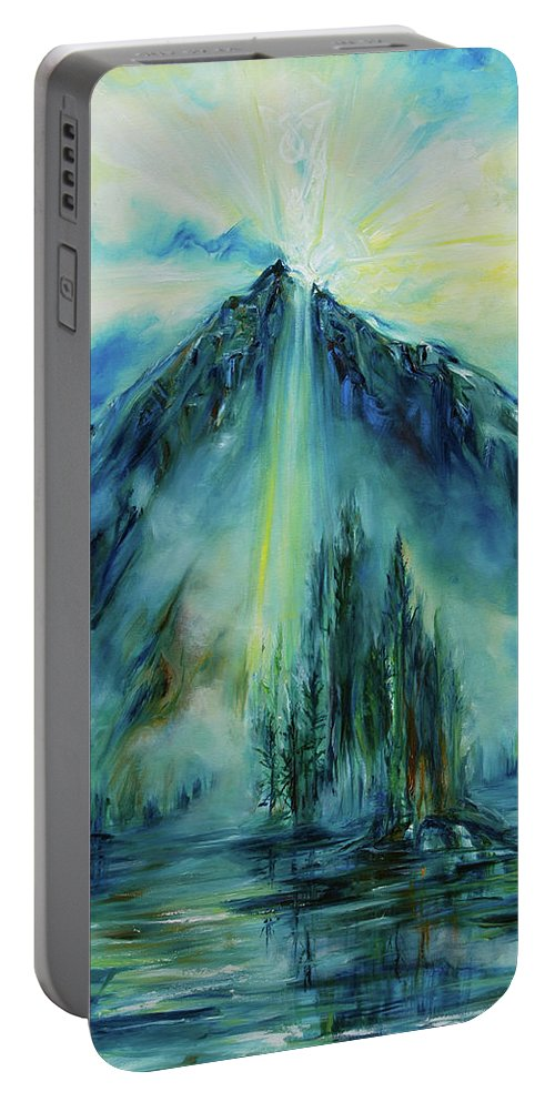 Landscape Portable Battery Charger featuring the painting Celtic Cross by Jennifer Christenson