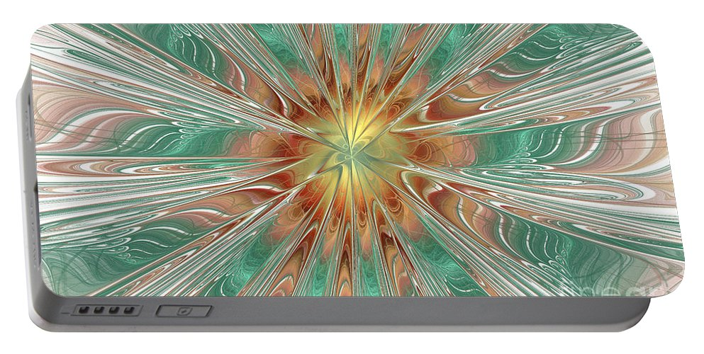 Digital Portable Battery Charger featuring the digital art Center Hot Energetic Explosion by Deborah Benoit