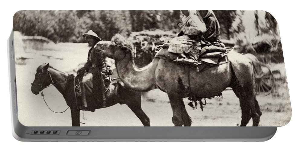 1870 Portable Battery Charger featuring the photograph Central Asian Travelers by Granger