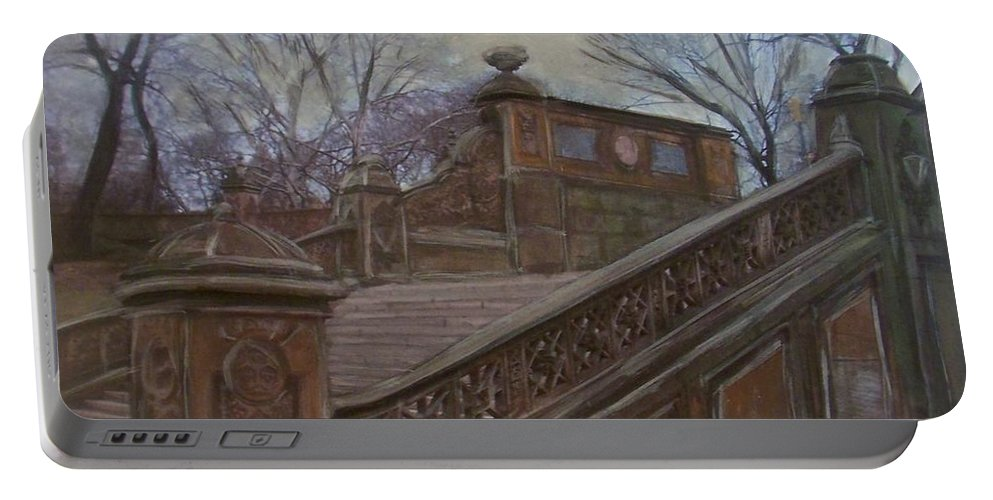 Central Park Portable Battery Charger featuring the painting Central Park Bethesda Staircase by Anita Burgermeister