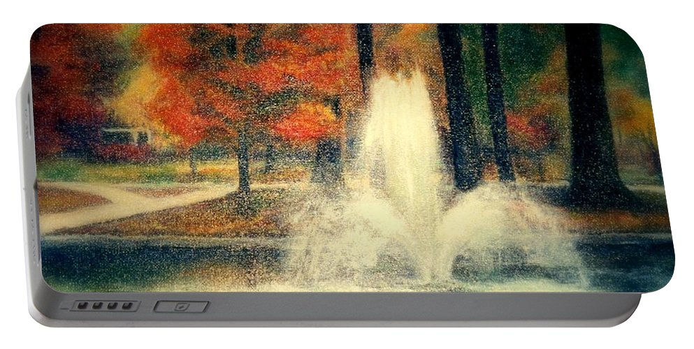 Pond Portable Battery Charger featuring the painting Central Park In Autumn by Gail Kirtz