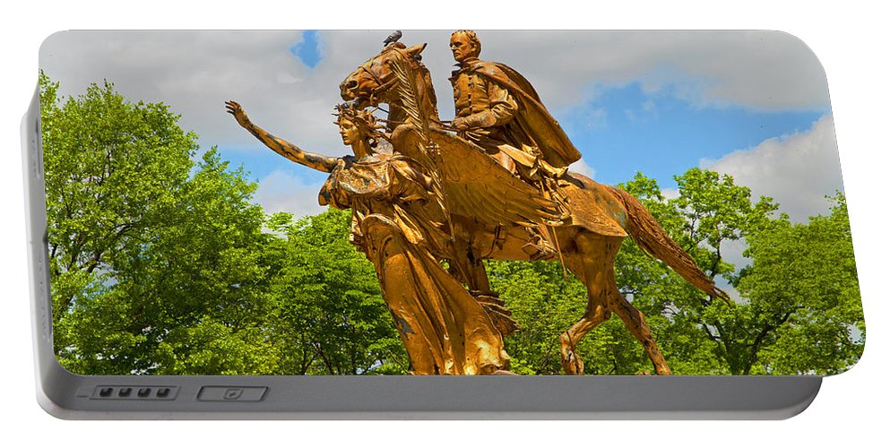 Central Park Art Portable Battery Charger featuring the photograph Central Park Sculpture-general Sherman by Regina Geoghan