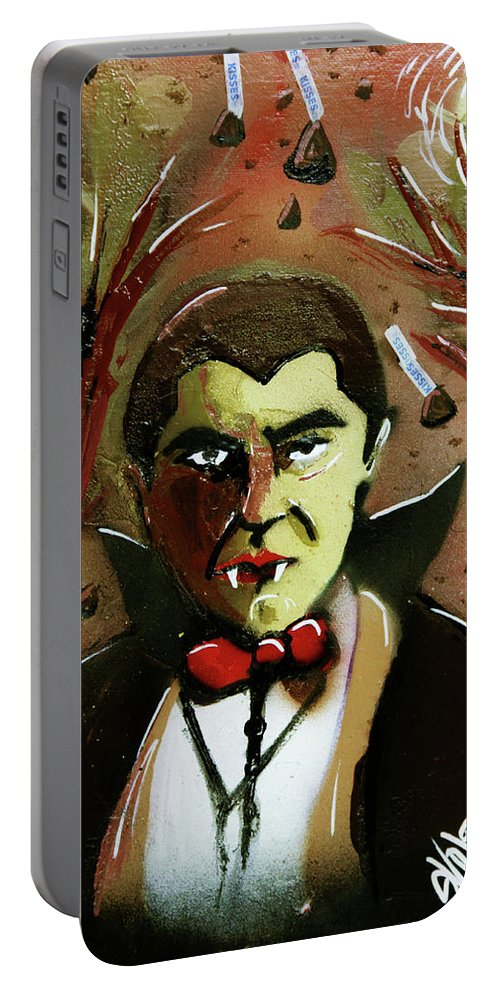 Count Chocula Portable Battery Charger featuring the painting Cereal Killers - Count Chocula by eVol i