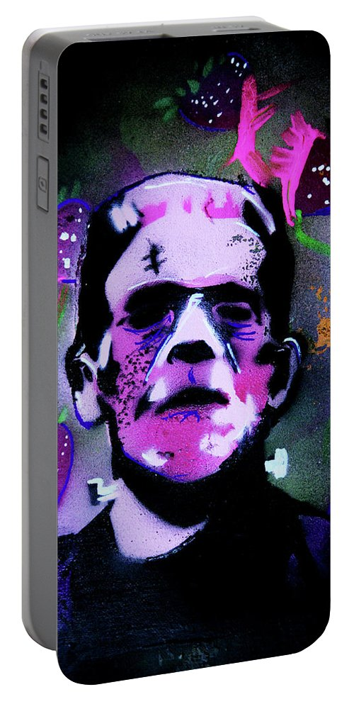 Cereal Killers Portable Battery Charger featuring the painting Cereal Killers - Frankenberry by eVol i