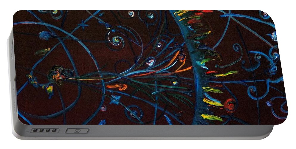 Cern Portable Battery Charger featuring the painting Cern Atomic Collision Physics And Colliding Particles by Gregory Allen Page