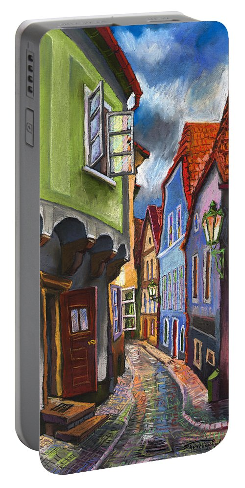 Pastel Chesky Krumlov Old Street Architectur Portable Battery Charger featuring the painting Cesky Krumlov Old Street 1 by Yuriy Shevchuk