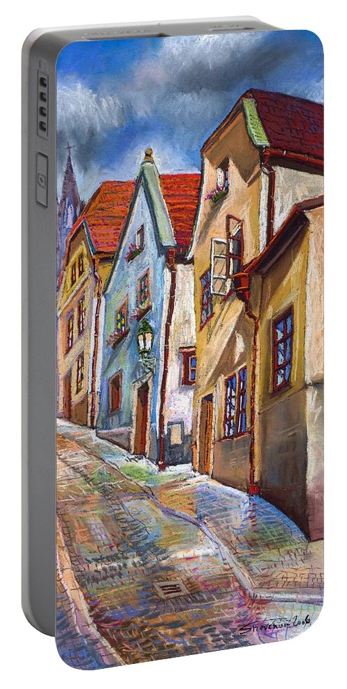 Pastel Chesky Krumlov Old Street Architectur Portable Battery Charger featuring the painting Cesky Krumlov Old Street 2 by Yuriy Shevchuk