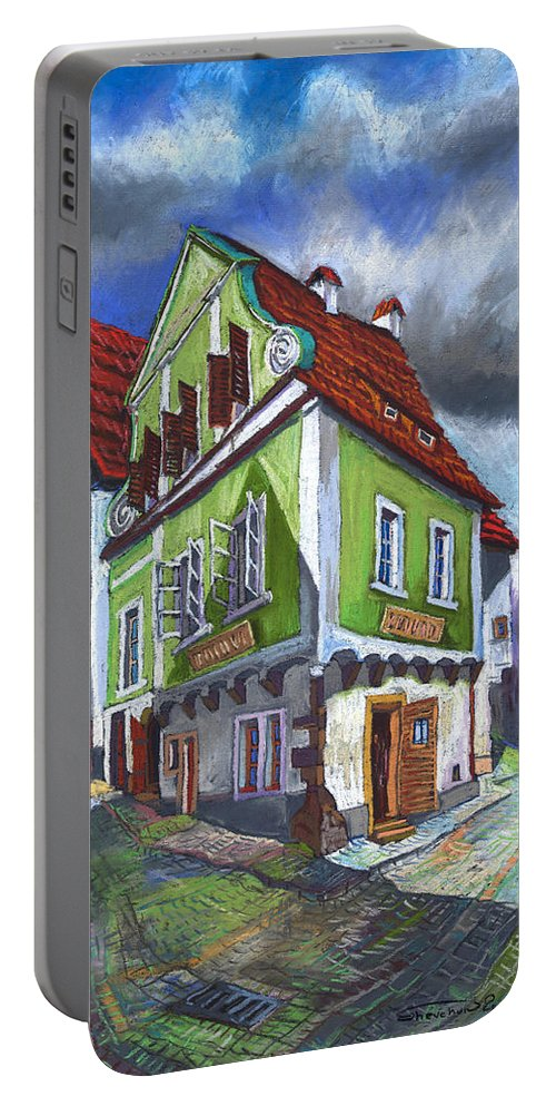 Pastel Chesky Krumlov Old Street Cityscape Realism Architectur Portable Battery Charger featuring the painting Cesky Krumlov Old Street 3 by Yuriy Shevchuk