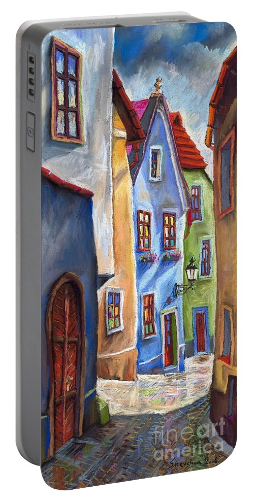 Cityscape Portable Battery Charger featuring the painting Cesky Krumlov Old Street by Yuriy Shevchuk