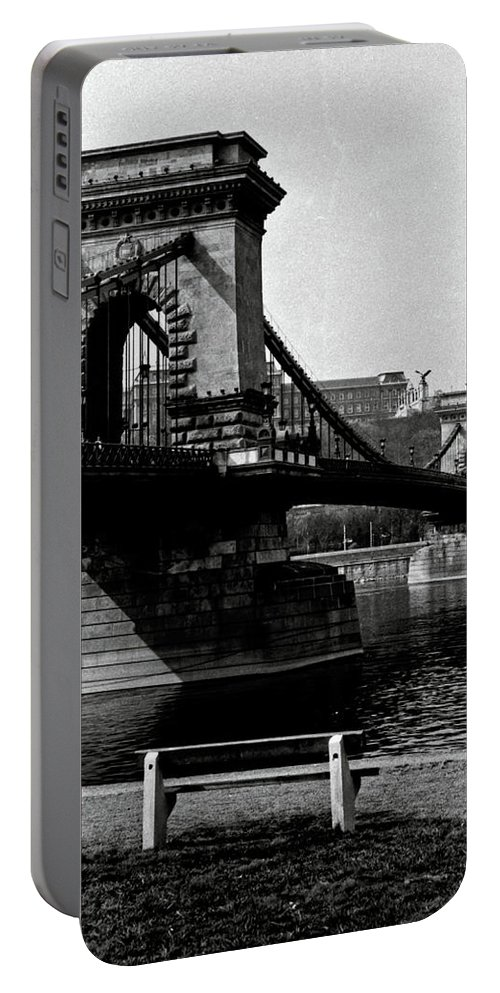Chain Bridge Portable Battery Charger featuring the photograph Chain Bridge Of Budapest In 1990 by Jarmo Honkanen