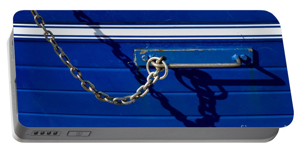Blue Portable Battery Charger featuring the photograph Chain by Silvia Ganora
