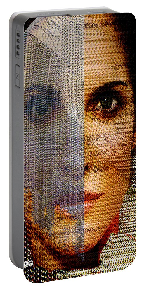 Mysterious Portable Battery Charger featuring the digital art Chained Vixen by Seth Weaver